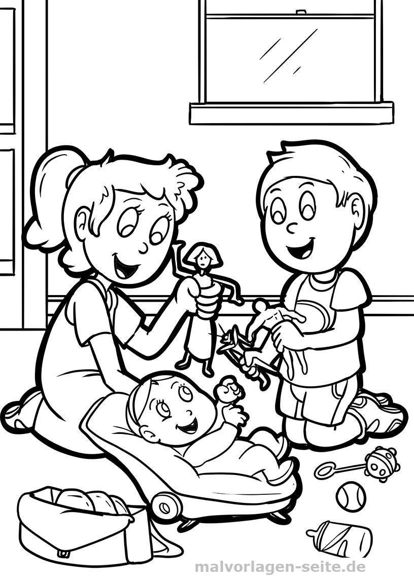 Malvorlage Geschwister mit Baby | Gratis Malvorlagen zum Download