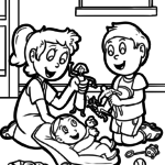 Coloring page siblings with baby | family