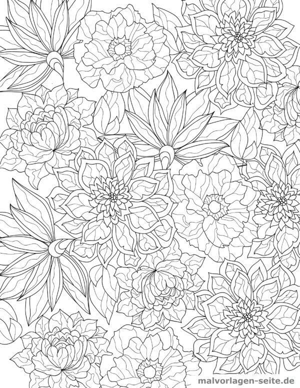 Coloring page adult flowers