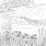Coloring page adults - landscape