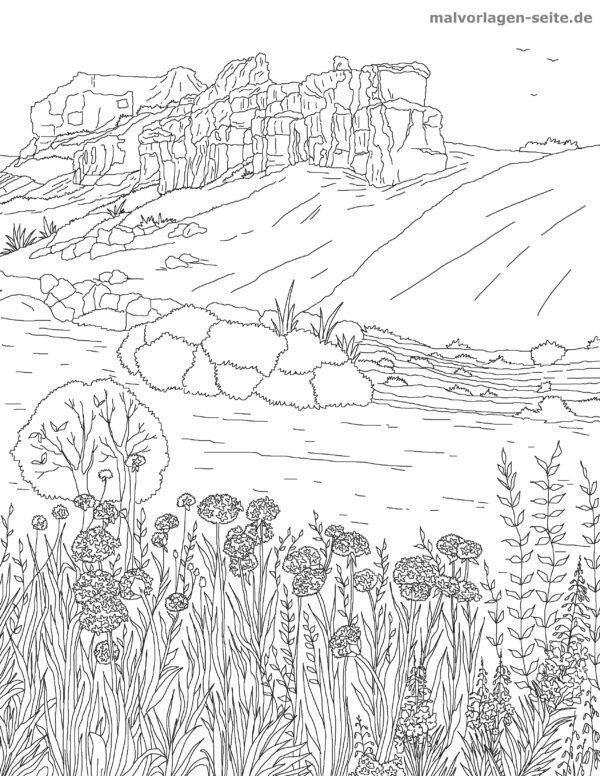 Dibujo para colorear adultos - paisaje | Páginas para colorear ...