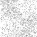 Coloring page adult - bird with flowers