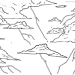 Coloring page lightning and thunder | Weather