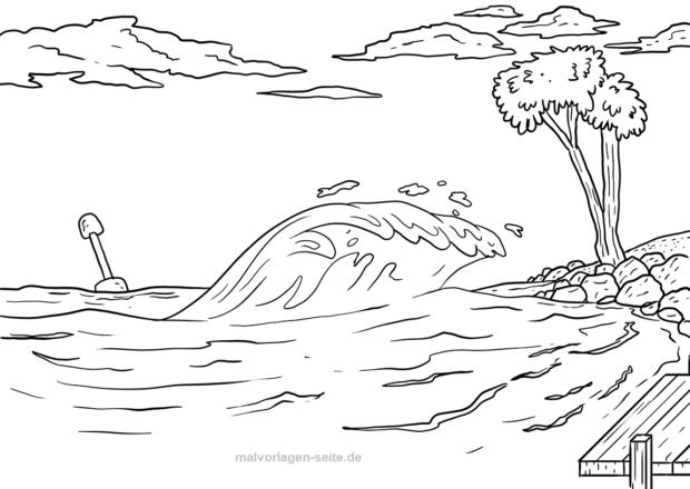 Malvorlage Tsunami