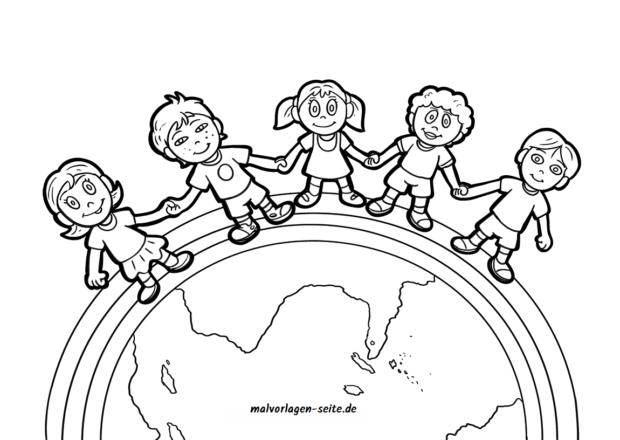 Colorear niños de esta tierra | Páginas para colorear gratis para ...