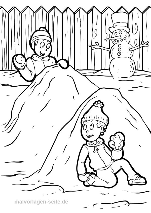 Malvorlage Schneeballschlacht im Winter