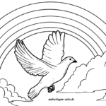 Coloring page peace dove with rainbow
