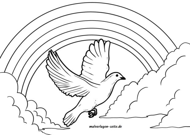 Página para colorear paz de la paz con el arco iris | Páginas para ...