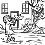 Coloring page windy weather