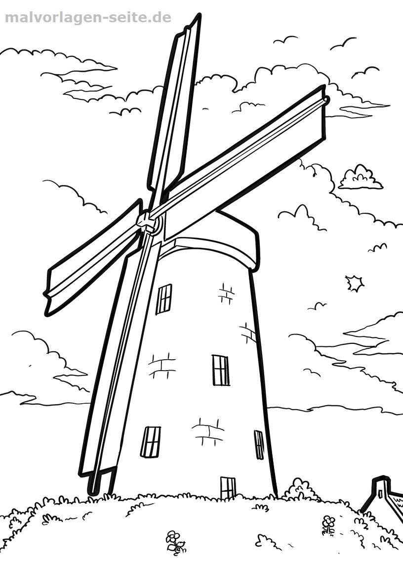 malvorlage windmühle  gebäude  kostenlose ausmalbilder