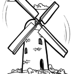 Windmills coloring pages building
