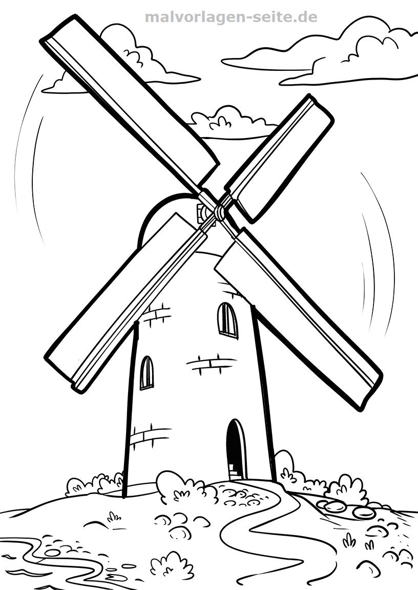 Malvorlage Windmühle   Gratis Malvorlagen zum Download