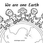 Malvorlage - We are one Earth