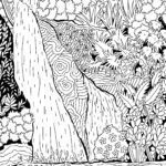 Coloring page waterfall for adults