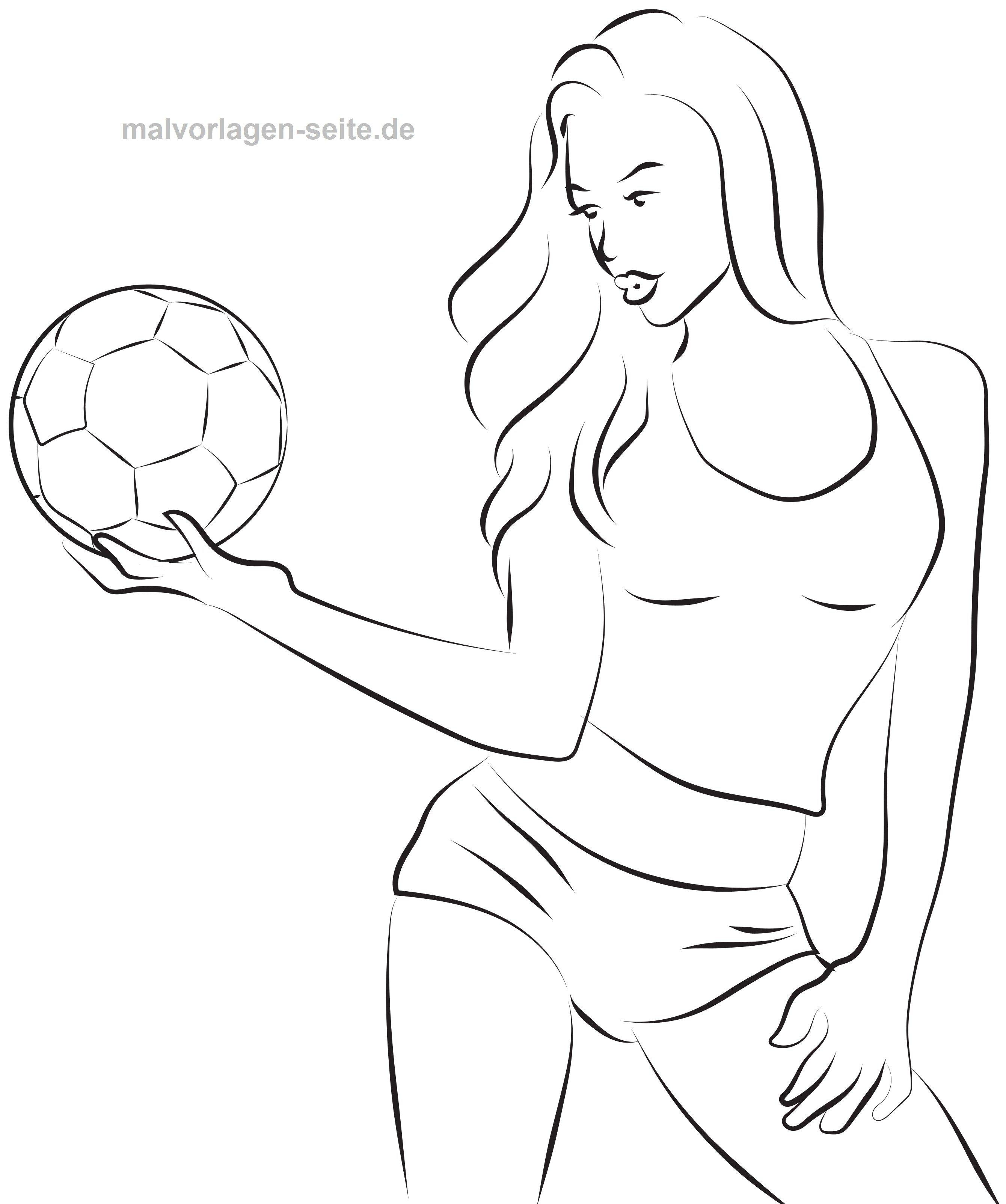Malvorlage Model mit Fußball | Gratis Malvorlagen zum Download