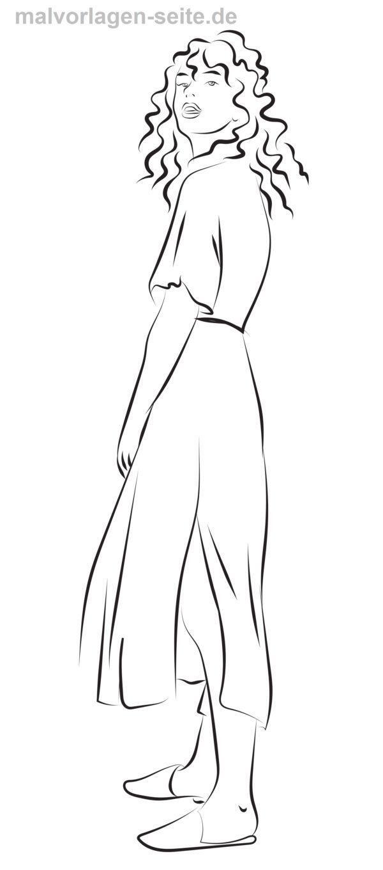 Malvorlage langes Kleid