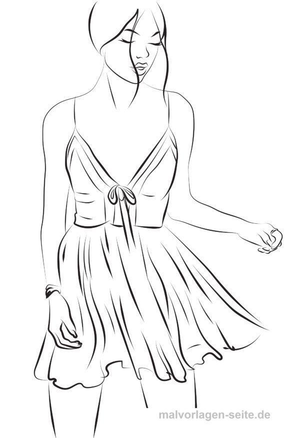 Modelo de color Topmodel Vestido de página para colorear | Páginas ...