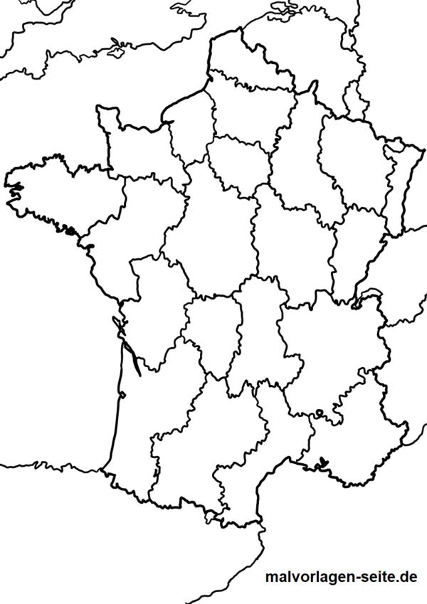Landkarte Frankreich zum Ausmalen
