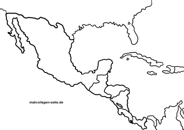Mapa de América Central para colorear | Páginas para colorear gratis ...