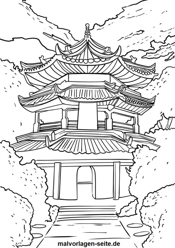 Malvorlage chinesische Pagode