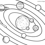 Coloring page planets orbit | space