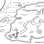 Coloring page treasure map pirate treasure