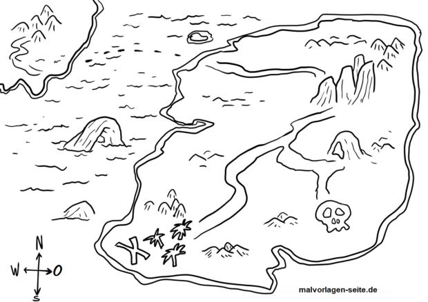 Planșă de colorat harta comorii