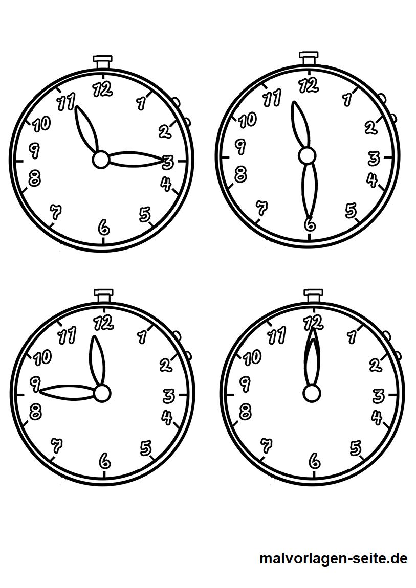 Malvorlage Uhrzeiten - Kostenlose Ausmalbilder