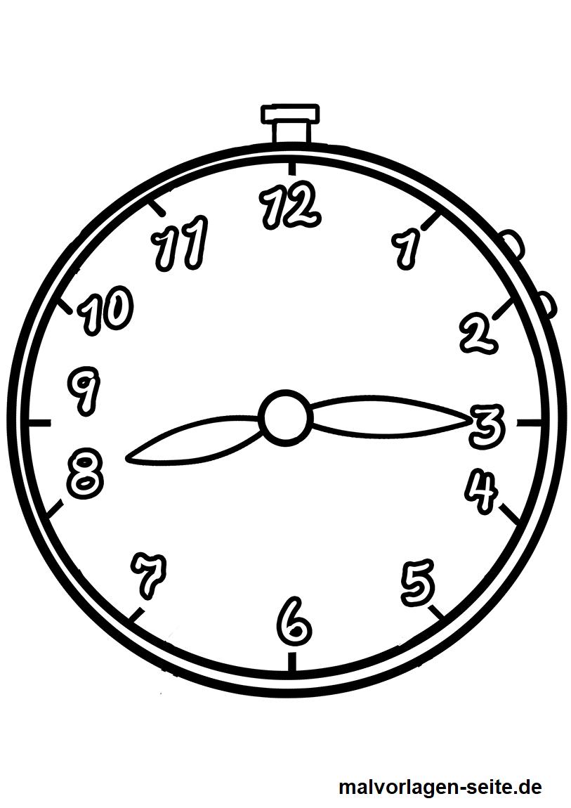 Malvorlage Uhr  Uhrzeiten - Kostenlose Ausmalbilder