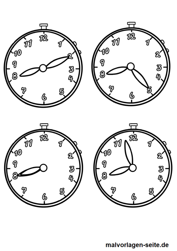Ausmalbild Uhrzeiten