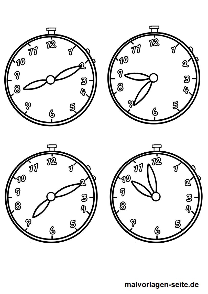 Malvorlage Uhrzeiten | Gratis Malvorlagen zum Download