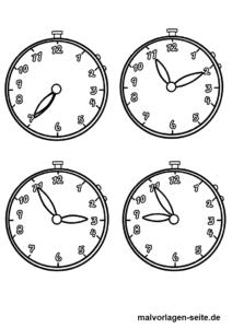 Ausmalbilder Uhr Uhrzeit