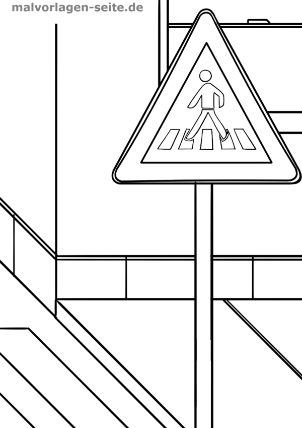 Coloring page traffic sign Caution pedestrian