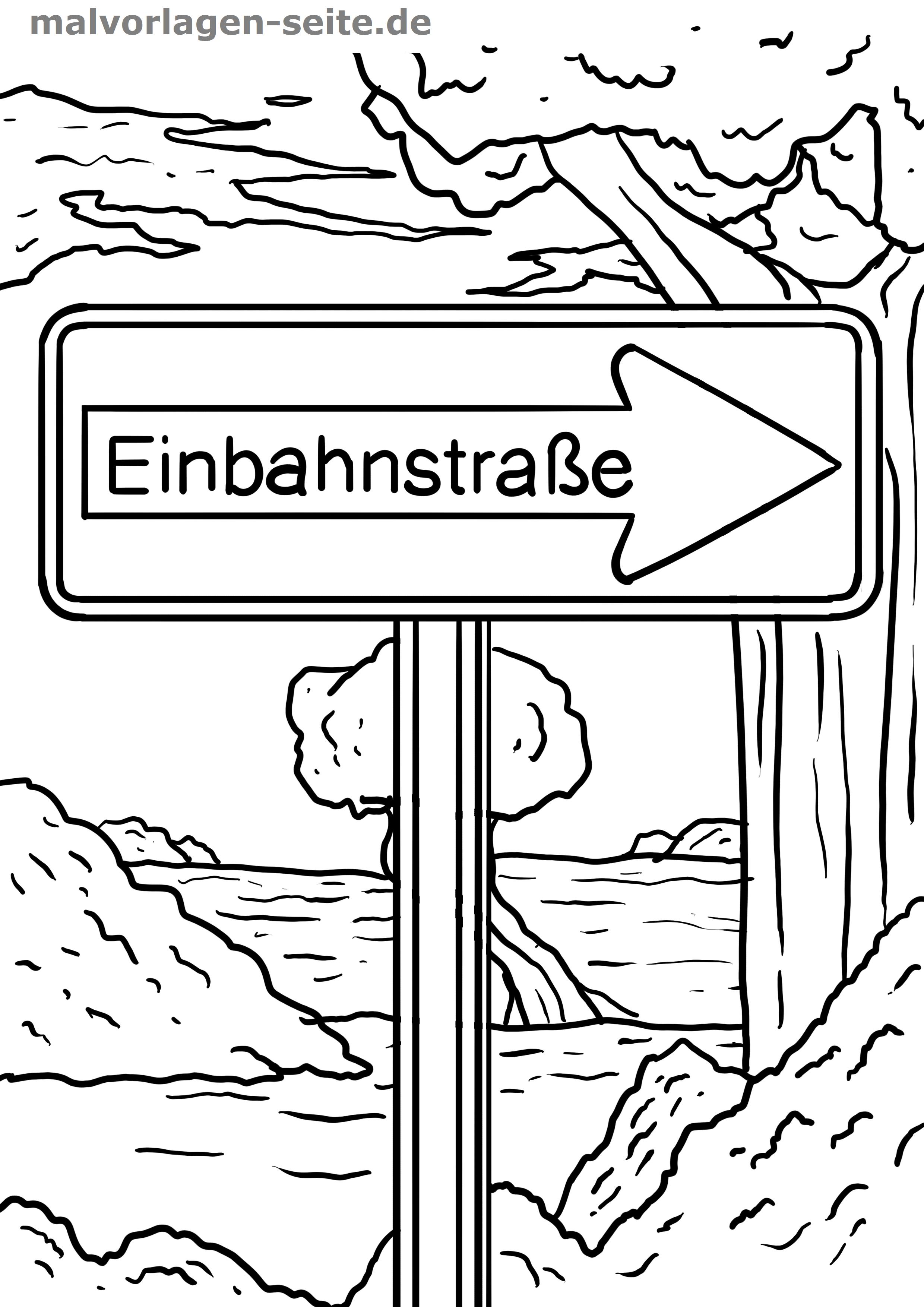 Verkehrszeichen Einbahnstraße - Kostenlose Ausmalbilder