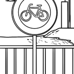 Road sign bicycles prohibited Coloring page
