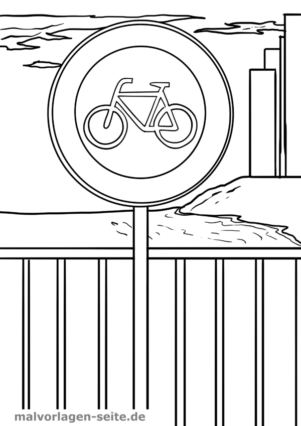 Coloring page road signs bicycles prohibited