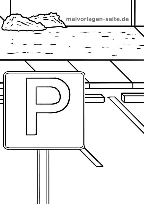 Yol Işareti Park Boyama şablonu Indirmek Için ücretsiz Boyama