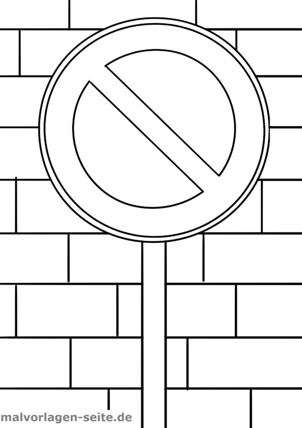 Malvorlage / Ausmalbild Verkehrszeichen Parkverbot