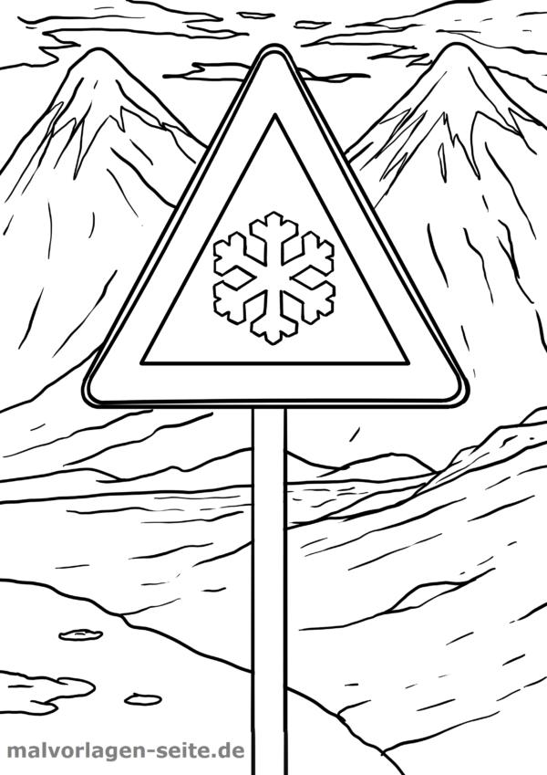 Malvorlage / Ausmalbild Verkehrszeichen Glättegefahr