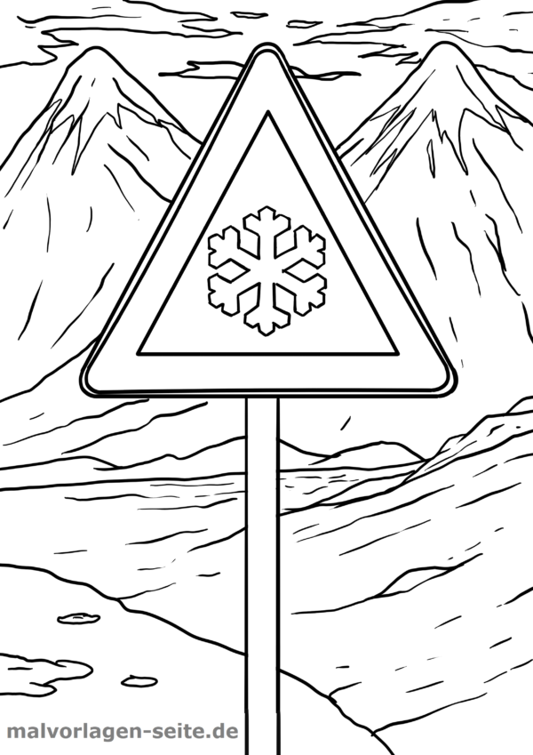 Página para colorir sinal de trânsito Perigo de lisura