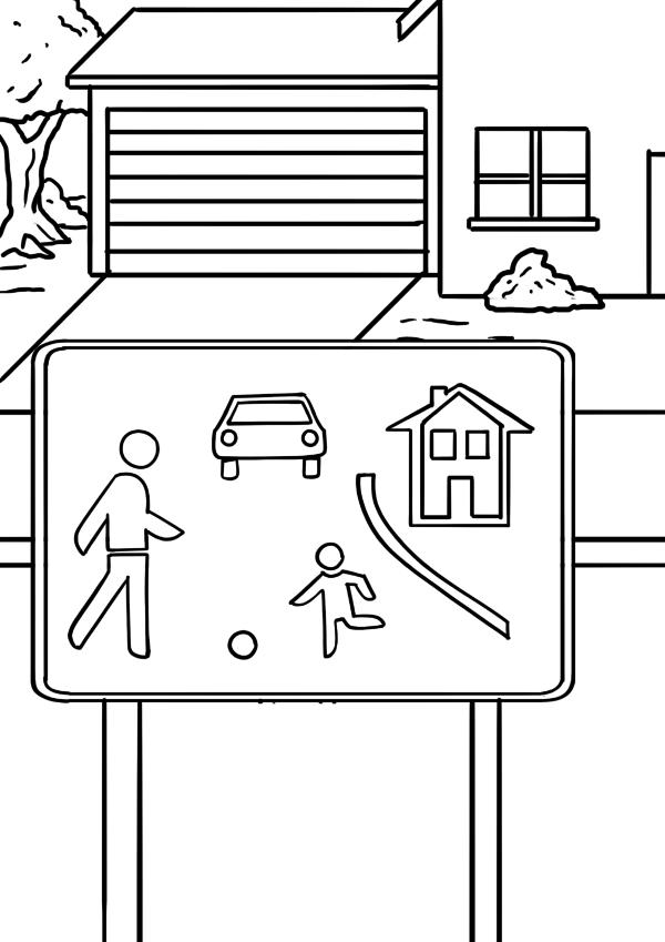Malvorlage Verkehrsschild Verkehrsberuhigter Bereich - Spielstraße