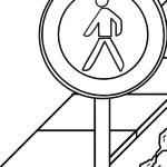 Traffic sign pedestrian prohibited Coloring page