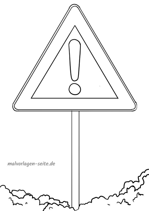 Malvorlage / Ausmalbild Verkehrszeichen Achtung