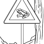 Traffic sign amphibian migration Coloring page