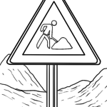 Traffic sign Coloring page construction site