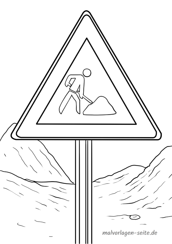 Coloring page traffic sign construction site