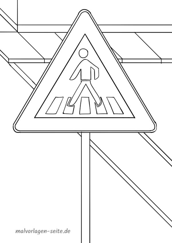 Malvorlage / Ausmalbild Verkehrszeichen Fußgängerüberweg