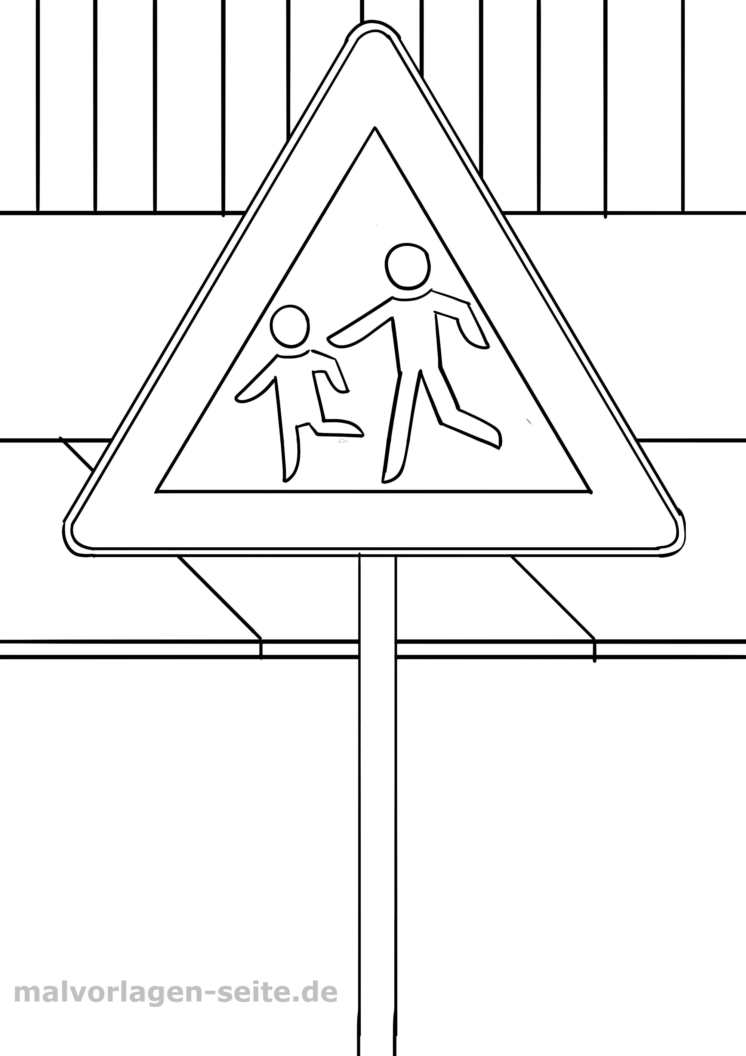 Verkehrszeichen Kinder Malvorlage - Kostenlose Ausmalbilder