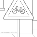 Traffic sign bicycle traffic Coloring page