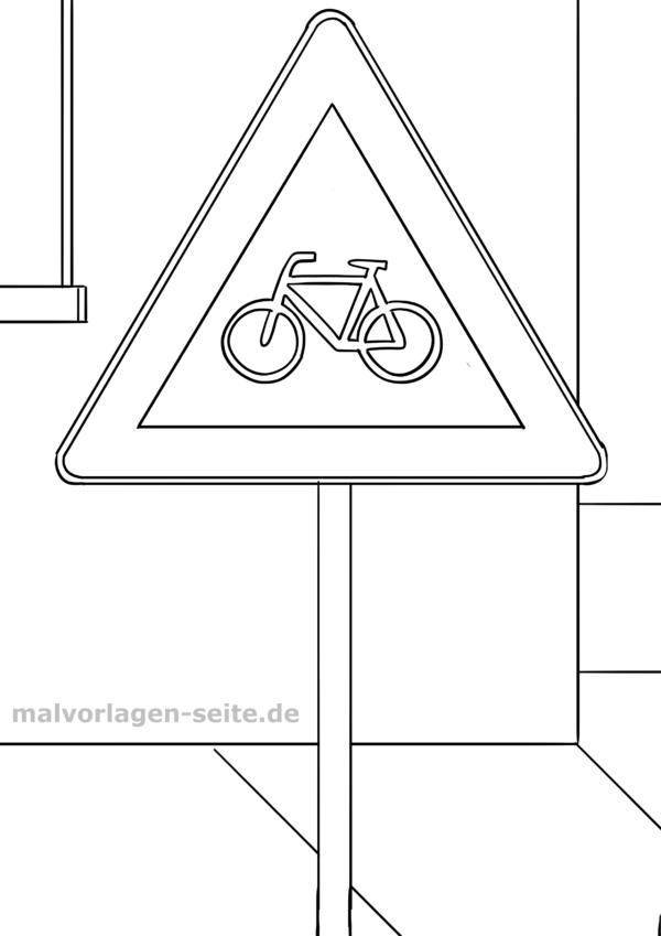 Malvorlage / Ausmalbild Verkehrszeichen Radverkehr